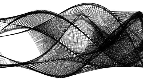 Černé vlnité čáry vytvářejí abstraktní grafické tvary, izolované na bílém
