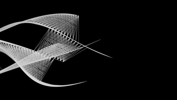 Abstraktní grafika natékajících čar, černé pozadí.