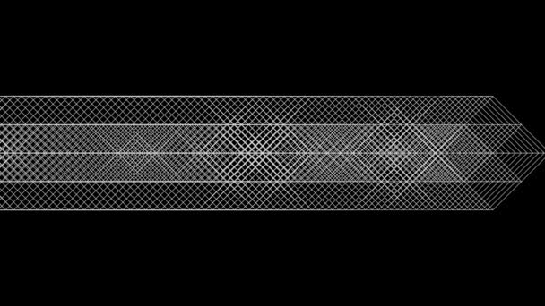 Flowing arrow in geometric graphic style, black background.