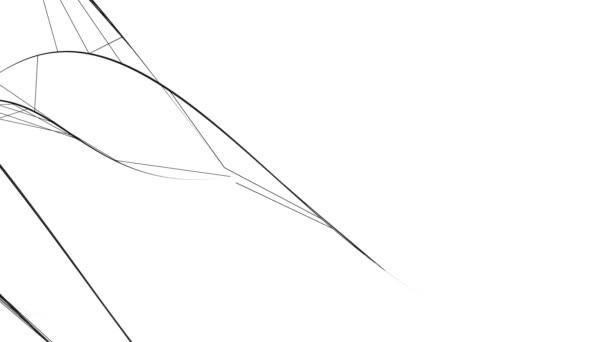 Abstraktní grafické pozadí zakřivených, natékajících černých čar, izolovaných na bílém.