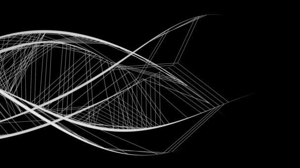 Absztrakt grafikus szerkezete áramló fehér vonalak izolált fekete háttér.