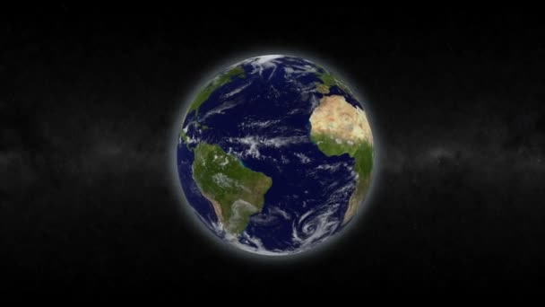 Rotating planet earth in space. High quality rendering with fotorealistic textures.