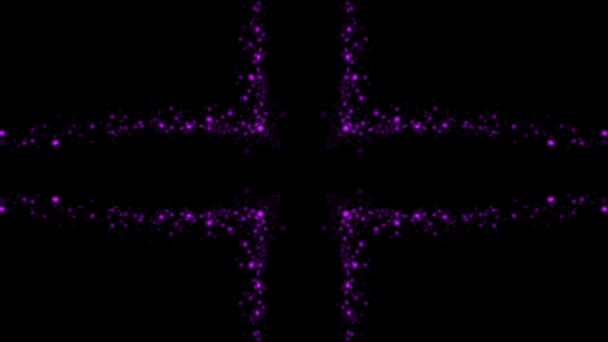Purple glowing cross of orbs and particles in flowing motion, on black background.