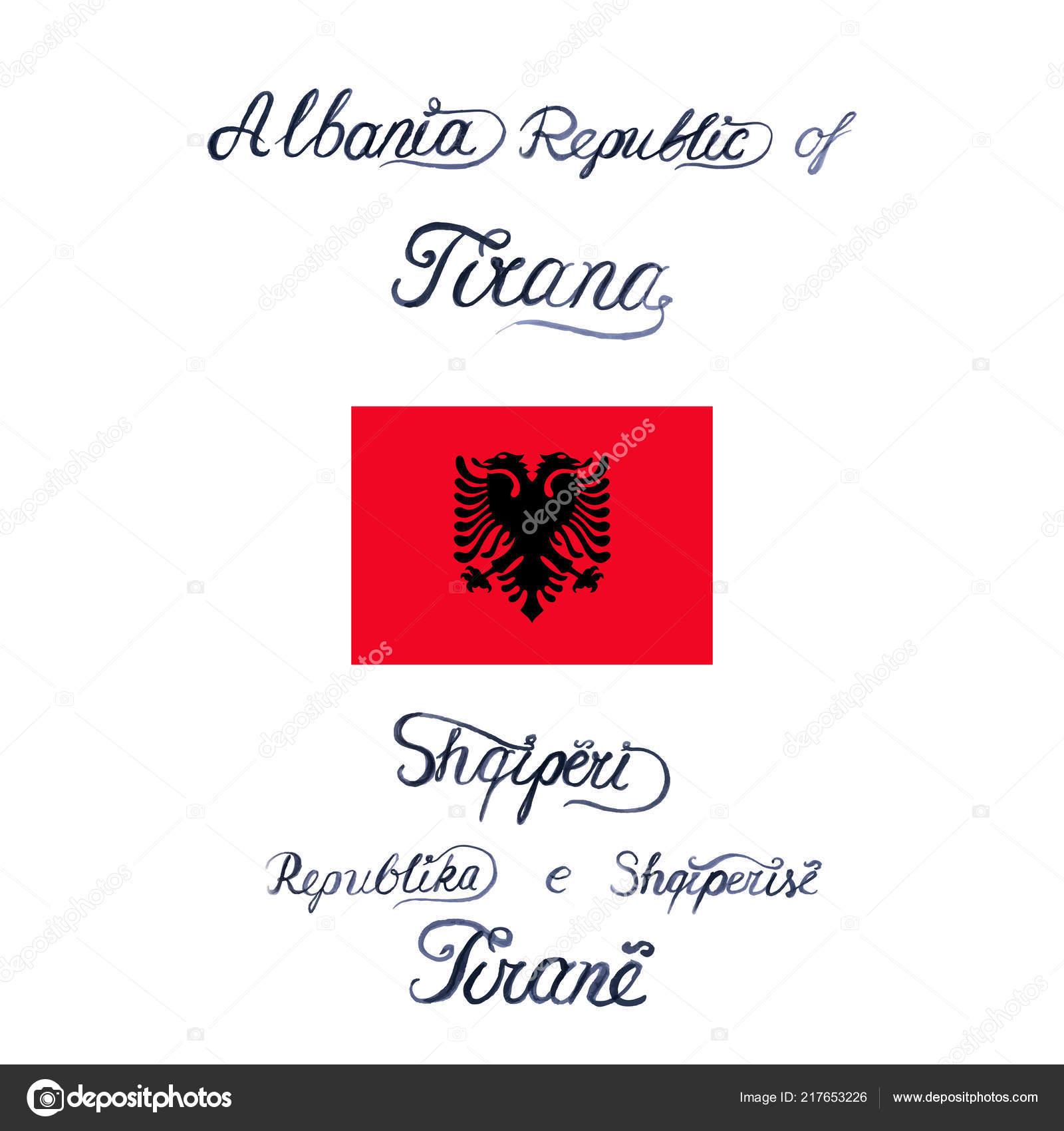 Frohe Weihnachten Albanisch.Vektor Illustration Mit Flagge Von Albanien Und Wörter In Englisch