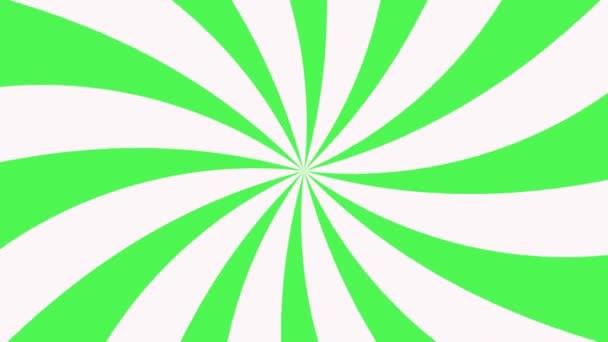 Bílá a zelená paprskální animace vzorku na pozadí. Barevný zadní pop Motion video.
