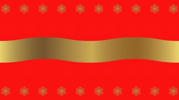 HD vánoční červené pozadí se zlatými mizející sněhové vločky a mávání stuhou