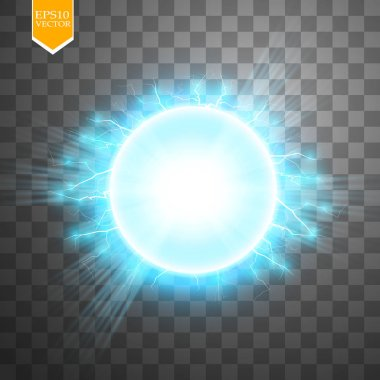 Abstract blue energy ring on transparent background. Vector. Sun