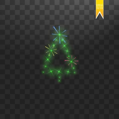 Christmas Tree made. Green glitter bokeh lights and sparkles. Shining star, sun particles and sparks with lens flare effect and with multi-colored fireworks on transparent background