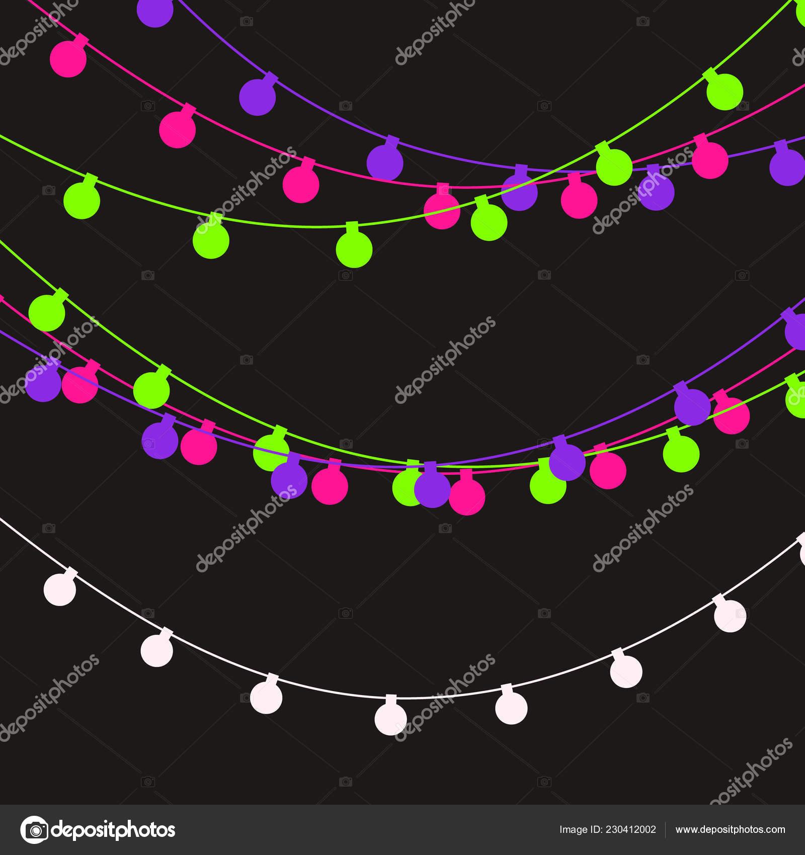 Christmas lights strings. Vector flat Xmas garland. Festive garlands set — Stock Vector
