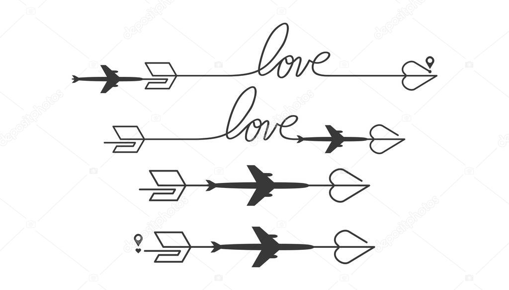 Airplane travel icons set on arrow. Takeoff and landing of a passenger plane. Flight route infographic elements. Airplane flight, aviation tourism vector collection of isolated illustrations. icon
