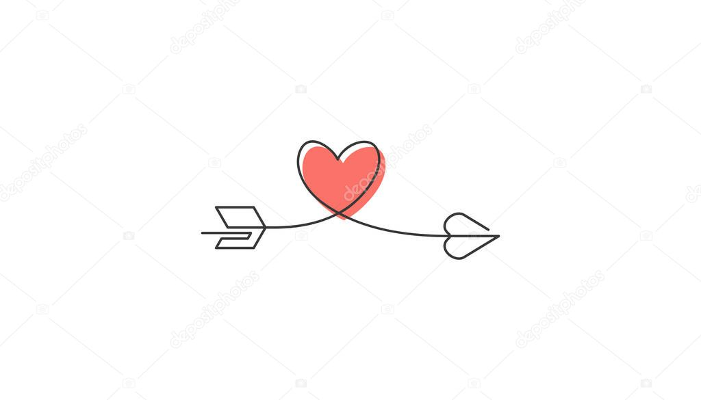 Typography heart love starts an ends with arrow. icon