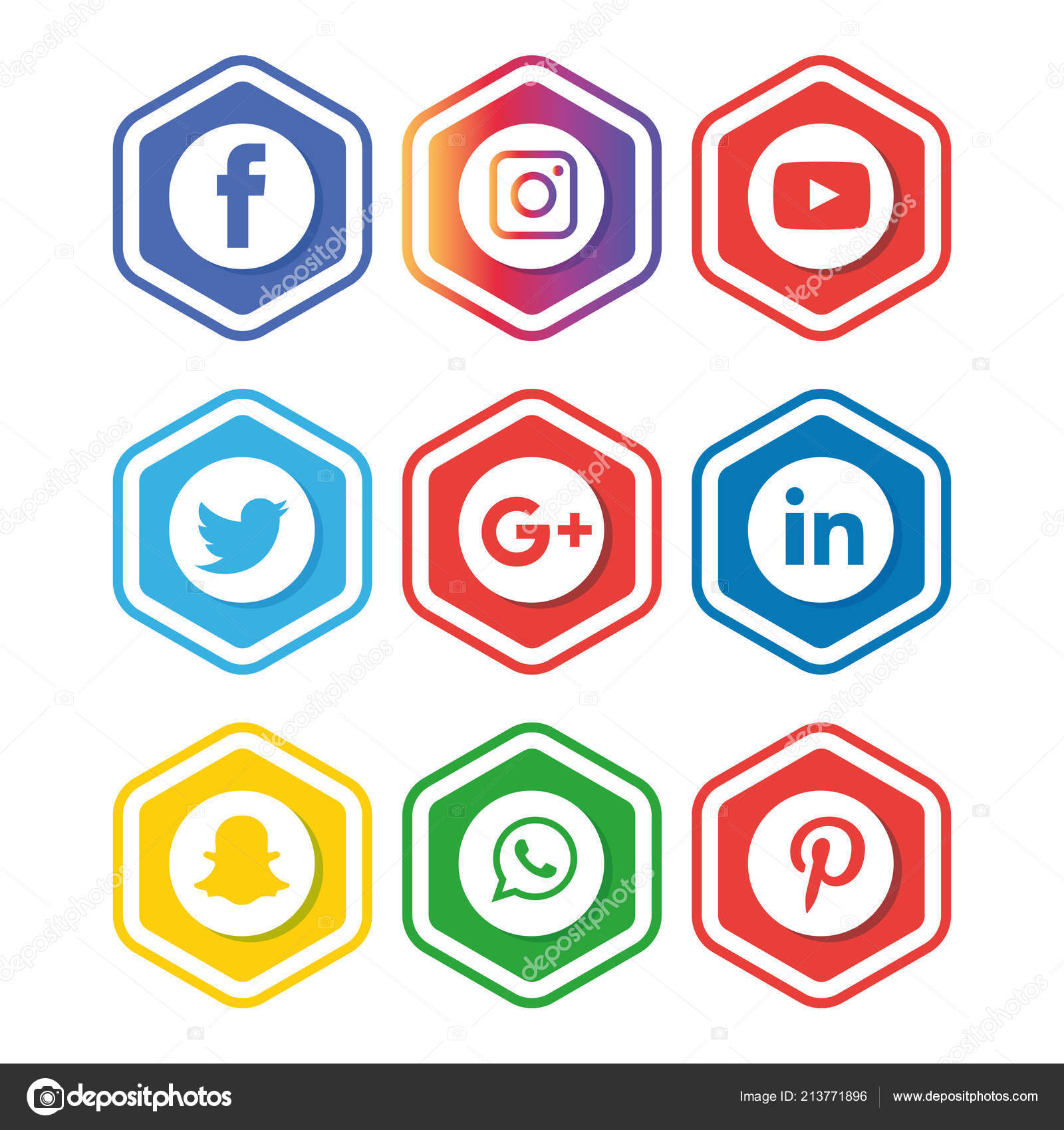 Conjunto Iconos Redes Sociales Logotipo Vectorial Illustrator