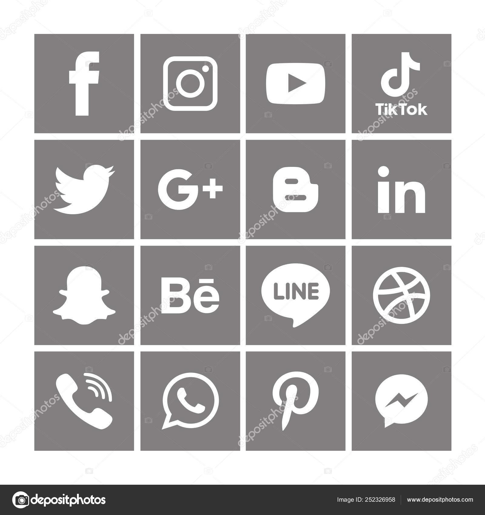 Black White Social Media Icons Set Logo Vector Illustrator Background Stock Vector C Designmaster81 252326958