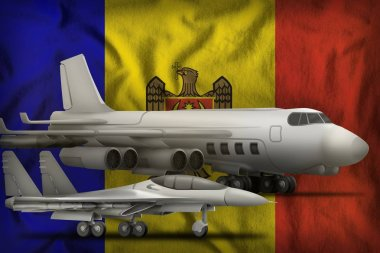 air forces on the Moldova flag background. Moldova air forces concept. 3d Illustration