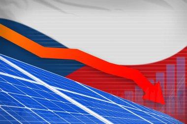 Czechia solar energy power lowering chart, arrow down  - environmental energy industrial illustration. 3D Illustration