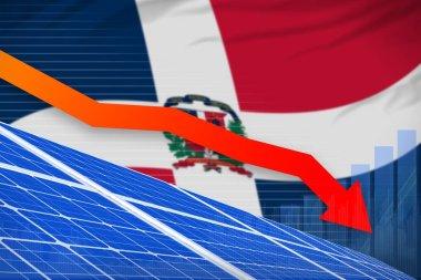 Dominican Republic solar energy power lowering chart, arrow down  - modern energy industrial illustration. 3D Illustration