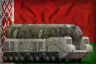 intercontinental ballistic missile with city camouflage on the Belarus flag background. 3d Illustration