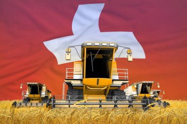 4 orange combine harvesters on grain field with flag background, Switzerland agriculture concept - industrial 3D illustration