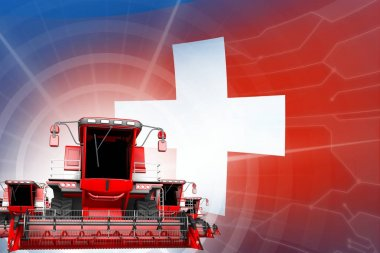 Digital industrial 3D illustration of red modern farm combine harvesters on Switzerland flag, farming equipment modernisation concept