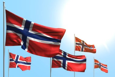 nice 5 flags of Norway are waving on blue sky background - any feast flag 3d illustration