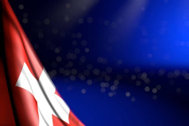 cute picture of Switzerland flag hanging diagonal on blue with selective focus and free space for text - any occasion flag 3d illustration