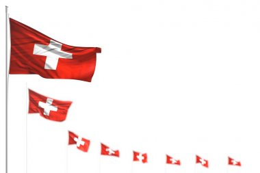 cute Switzerland isolated flags placed diagonal, photo with soft focus and place for your content - any holiday flag 3d illustration