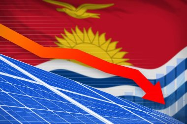 Kiribati solar energy power lowering chart, arrow down - green natural energy industrial illustration. 3D Illustration