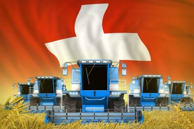a lot of blue farming combine harvesters on rural field with Switzerland flag background - front view, stop starving concept - industrial 3D illustration