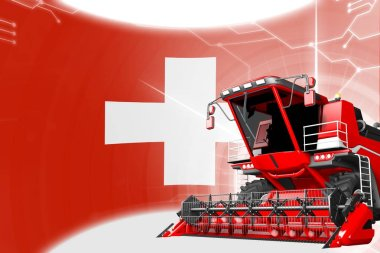 Agriculture innovation concept, red advanced farm combine harvester on Switzerland flag - digital industrial 3D illustration