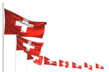 wonderful Switzerland isolated flags placed diagonal, illustration with bokeh and place for text - any feast flag 3d illustration
