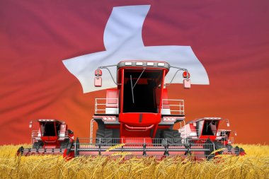 industrial 3D illustration of 4 bright red combine harvesters on wheat field with flag background, Switzerland agriculture concept