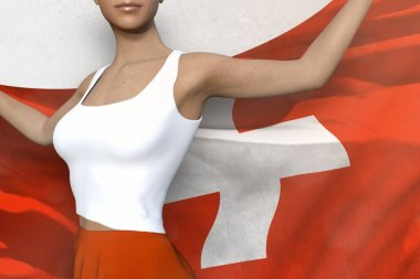 pretty lady in bright skirt holds Switzerland flag in hands behind her back on the white background - flag concept 3d illustration