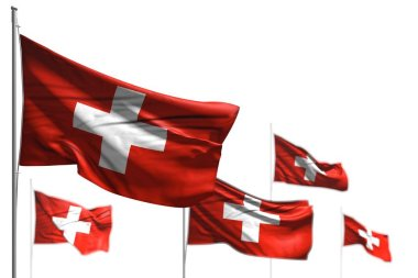 cute five flags of Switzerland are waving isolated on white - illustration with soft focus - any occasion flag 3d illustration