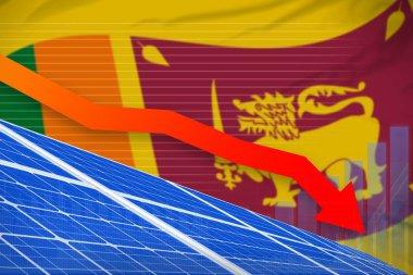 Sri Lanka solar energy power lowering chart, arrow down - renewable natural energy industrial illustration. 3D Illustration