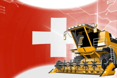 Agriculture innovation concept, yellow advanced rye combine harvester on Switzerland flag - digital industrial 3D illustration
