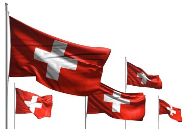 pretty five flags of Switzerland are waving isolated on white - any feast flag 3d illustration