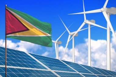Guyana solar and wind energy, renewable energy concept with solar panels - renewable energy against global warming - industrial illustration, 3D illustration