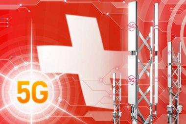 Switzerland 5G industrial illustration, big cellular network mast or tower on hi-tech background with the flag - 3D Illustration