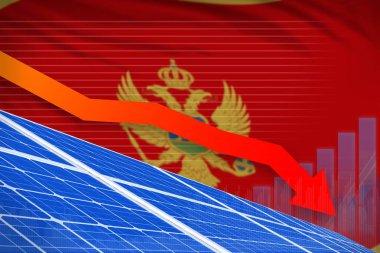 Montenegro solar energy power lowering chart, arrow down - environmental natural energy industrial illustration. 3D Illustration