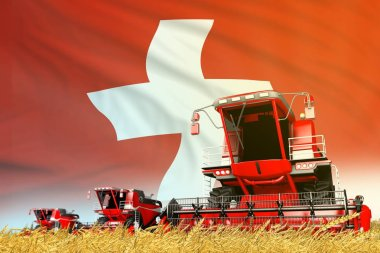 industrial 3D illustration of red grain agricultural combine harvester on field with Switzerland flag background, food industry concept