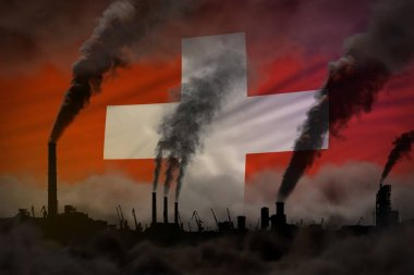 Dark pollution, fight against climate change concept - plant chimneys dense smoke on Switzerland flag background - industrial 3D illustration