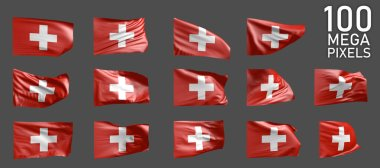 Switzerland flag isolated - various realistic renders of the waving flag on grey background - object 3D illustration