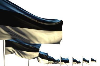 nice many Estonia flags placed diagonal isolated on white with place for text - any occasion flag 3d illustration