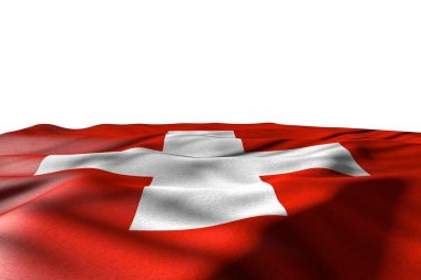 beautiful mockup image of Switzerland flag lay with perspective view isolated on white with place for text - any feast flag 3d illustration