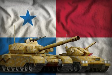 tanks with orange camouflage on the Panama flag background. Panama tank forces concept. 3d Illustration