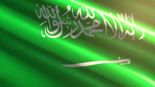 60FPS bright shiny velvet Saudi Arabia flag colored in green, white waving background, 3D UHD 4k seamless loopable animation