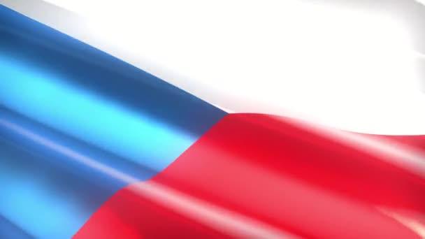 60FPS shiny holiday Czechia flag  waving, 3d 4k UHD seamless looping animation