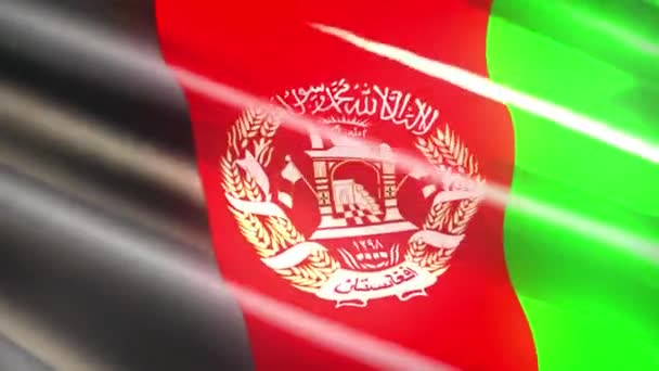 60FPS shiny holiday Afghanistan flag  waving, 3d 4k UHD seamless looping animation
