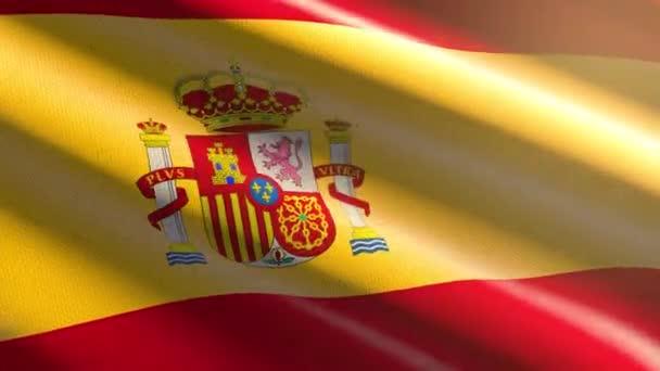 60FPS fényes fényes bársony Spanyolország zászló hullámzó háttér, 3D UHD 4k zökkenőmentes hurkolható animáció