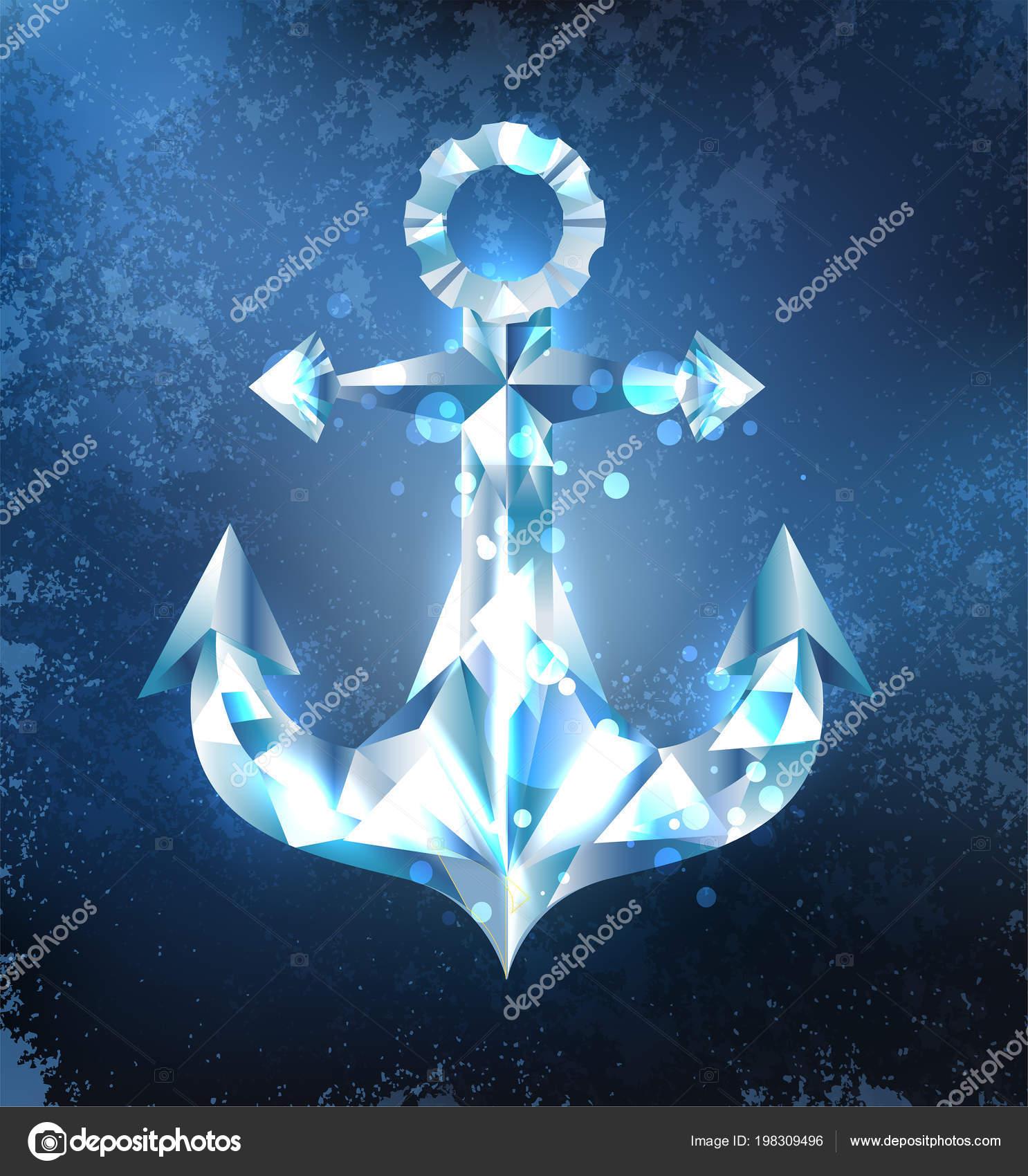 Ancoraggio Ghiaccio Scintillante Blu Trasparente Sfondo Blu Scuro